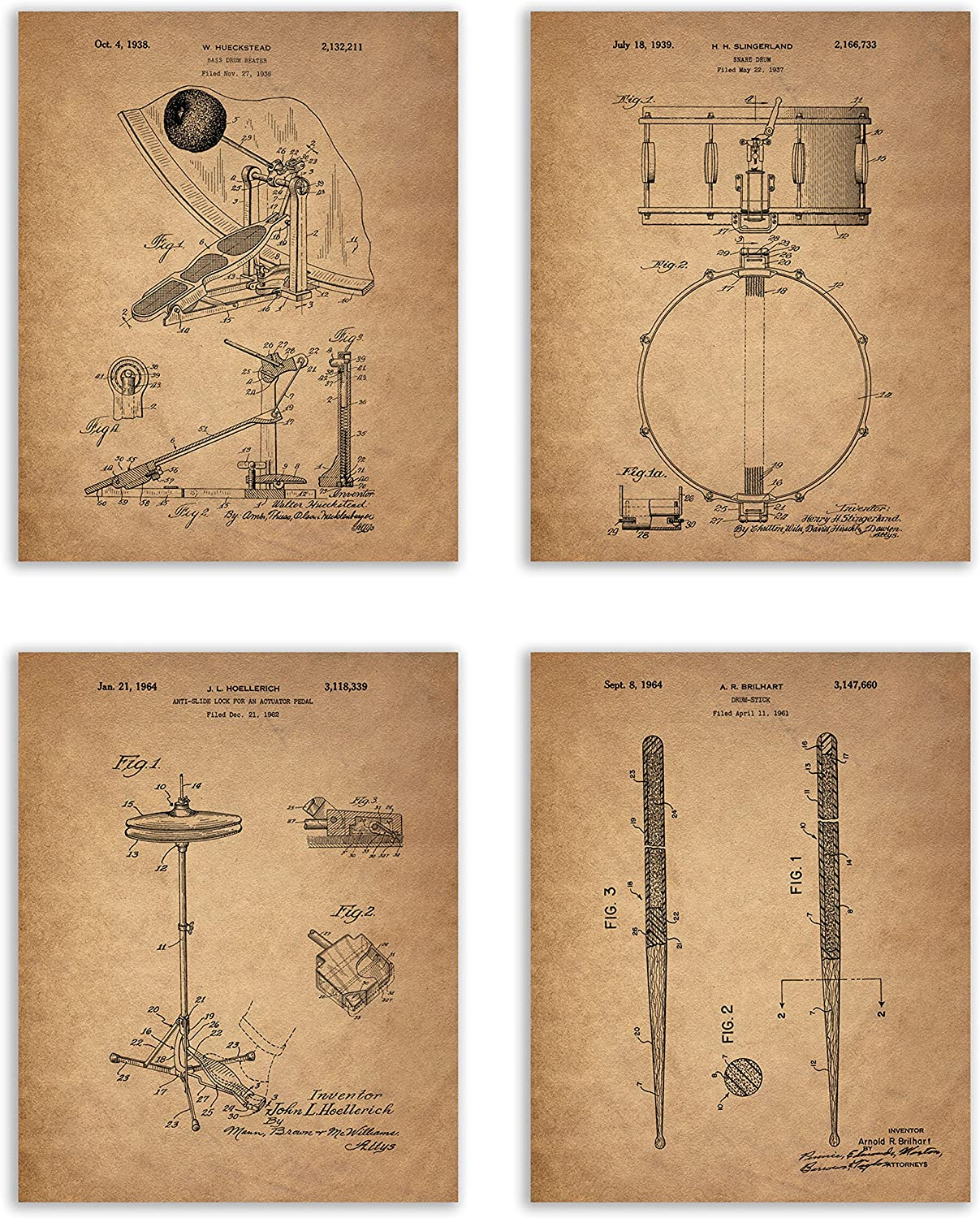 Drum Patent Prints - Set of 4 (8 inches x 10 inches) Photos Vintage Wall Art Decor