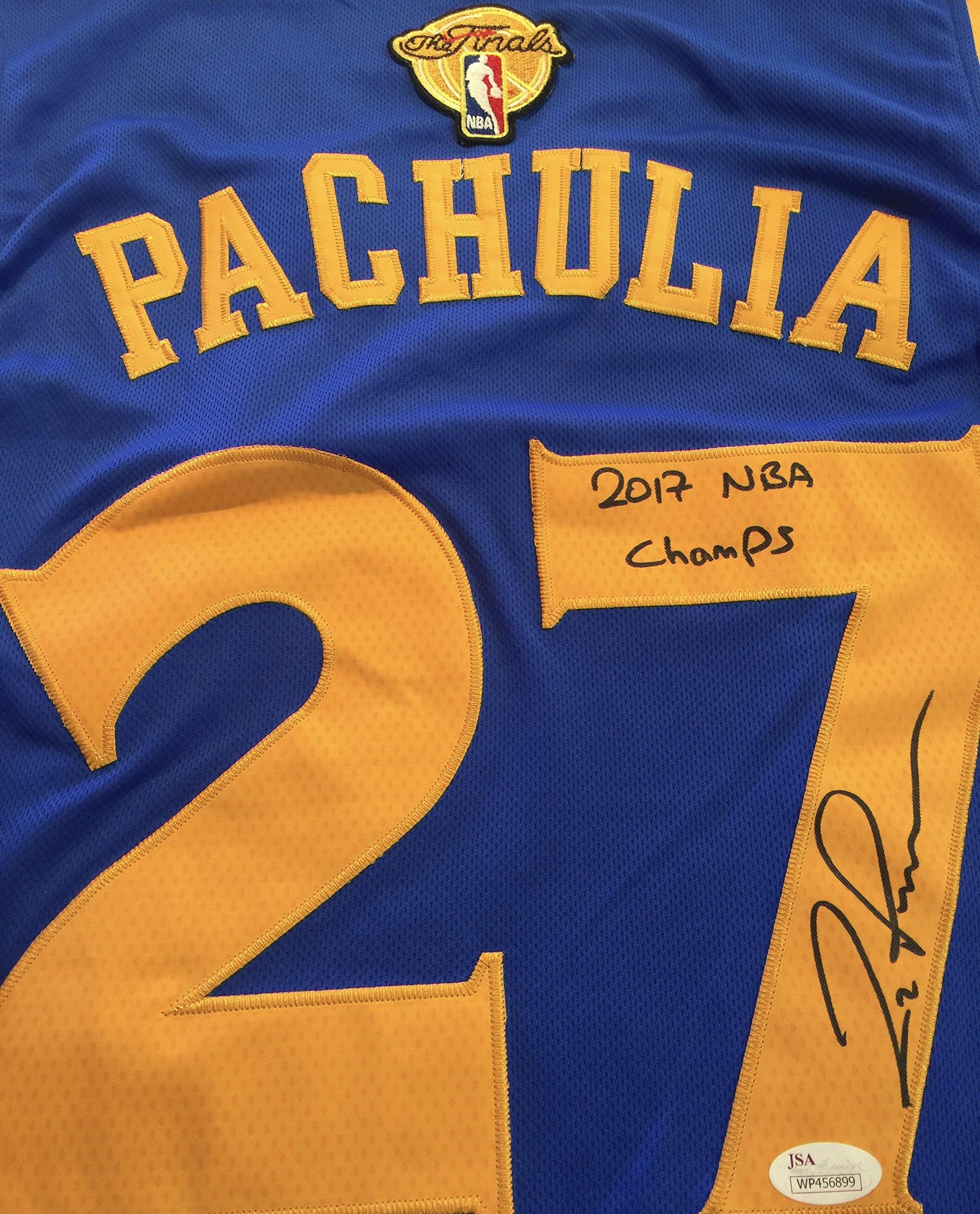 Zaza Pachulia GSW Signed Blue Jersey JSA WP Certified Autographed NBA Jersey by Zaza Pachulia