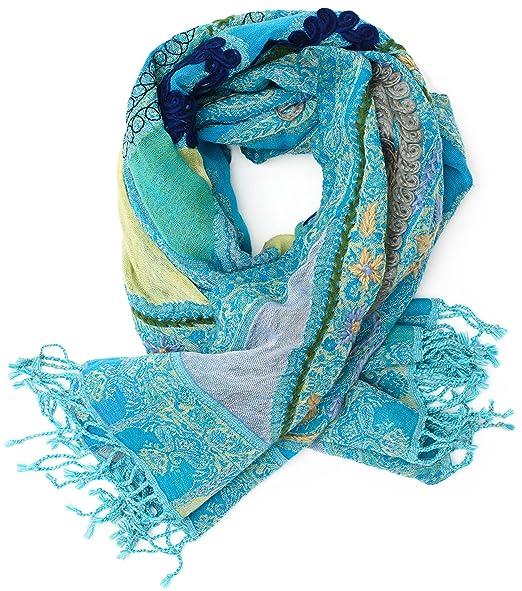 2a12515e88 Hand-embroidered, warm Pashmina shawl from Punjab, India, Paisley, 180 x