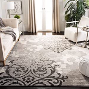 Safavieh Adirondack Collection ADR114B Silver and Ivory Contemporary Chic Damask Area Rug (5'1