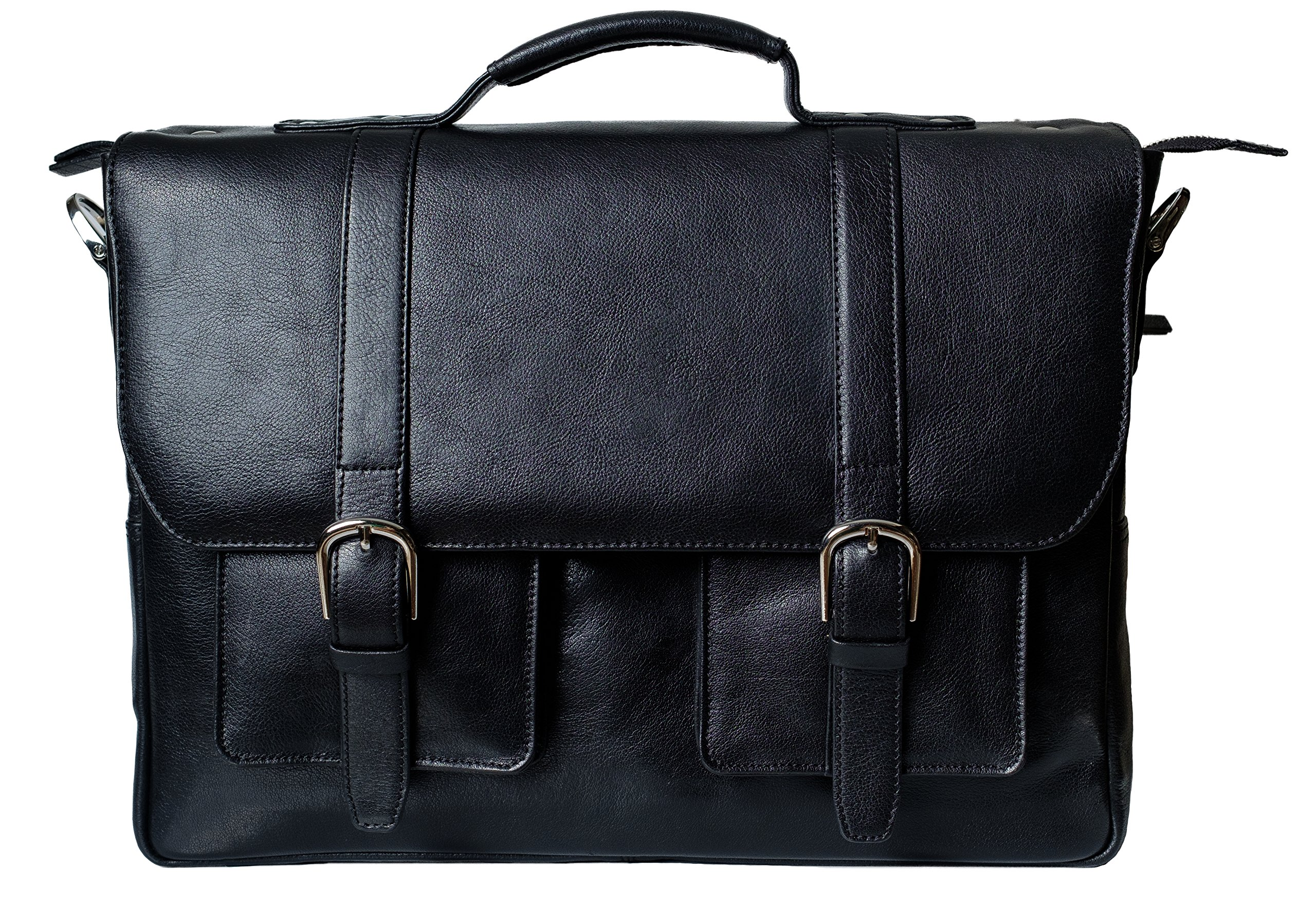 Genuine Calf Leather Briefcase/Messenger Laptop Bag for Men, GORDON, fits 15.4 inch Macbook Pro, adjustable strap, 15 inch by 11.5 inch by 3.5 inch (BLACK), by Ladderback