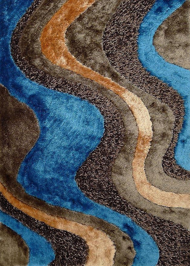 Amazon.com: Alfombra Color Café con Azul combination hecha a mano estilo moderno suave y lujosa , gruesa pila de tamaño 60