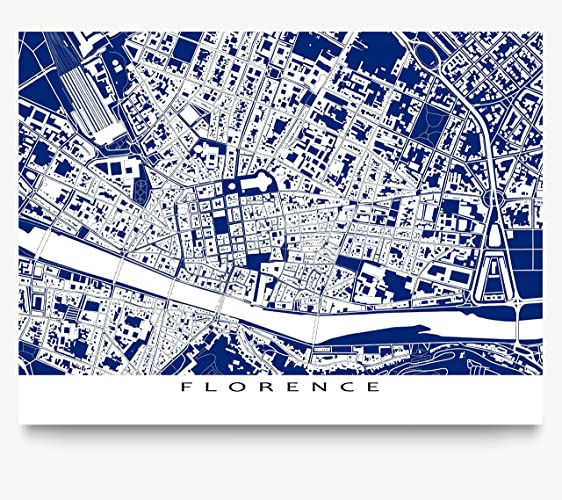 Amazon florence italy map print europe city blueprint art florence italy map print europe city blueprint art buildings malvernweather Image collections