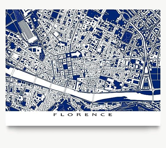 Amazon florence italy map print europe city blueprint art florence italy map print europe city blueprint art buildings malvernweather Choice Image