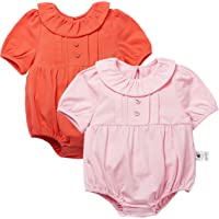 COTTON FAIRY Baby Girls Cute Floral Collar Bodysuits Solid Color Rompers Onesies 2 Sets