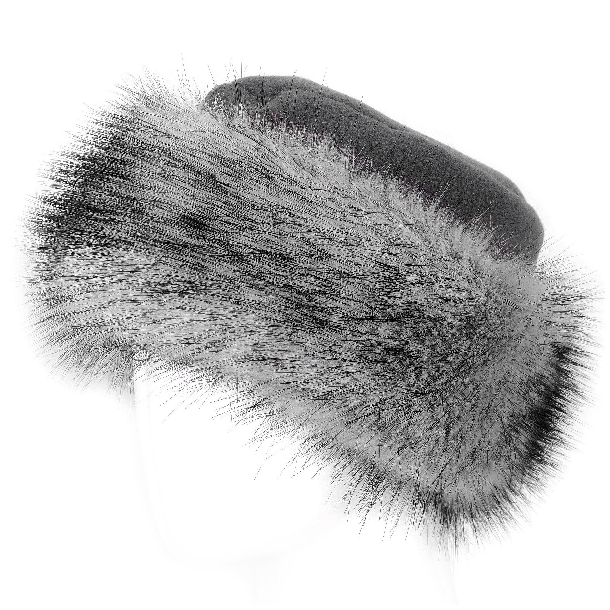 Futrzane Faux Fur Hat with Fleece Winter Ladies Women (S, Dark Grey/Silver)