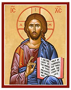 """Monastery Icons Jesus Christ the Teacher Mounted Plaque Icon Reproduction 7.8"""" x 10"""""""