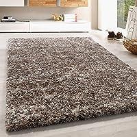Hoogpolig vloerkleed shaggy tapijt zacht taupe beige mokka room kleurig gemêleerd, kleur:Beige, Groote:60x110 cm