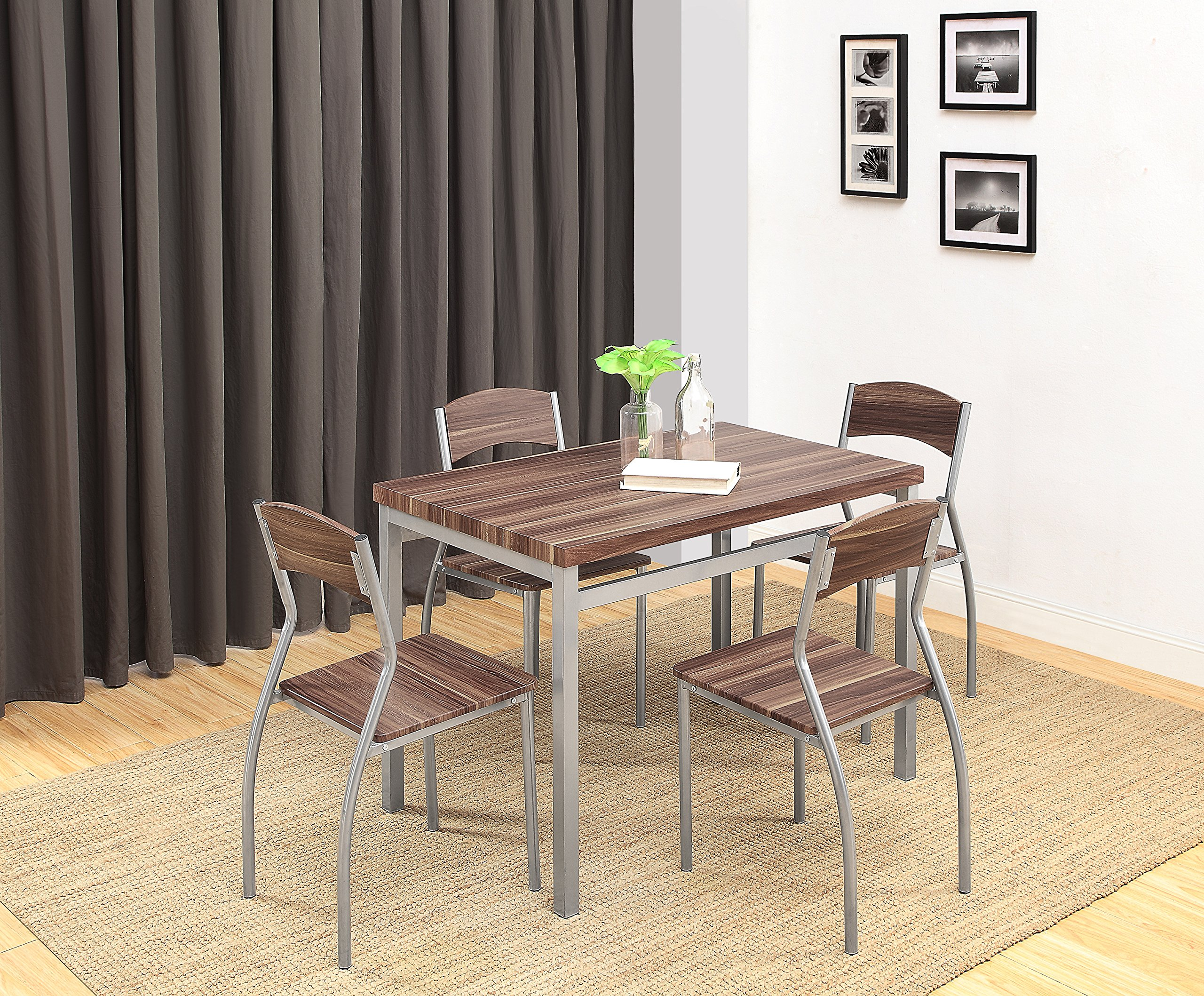 Abington Lane 5-Piece Dining Table Set with 4 Chairs - Modern and Sleek Dinette (Cedarwood Finish) by Abington Lane (Image #4)