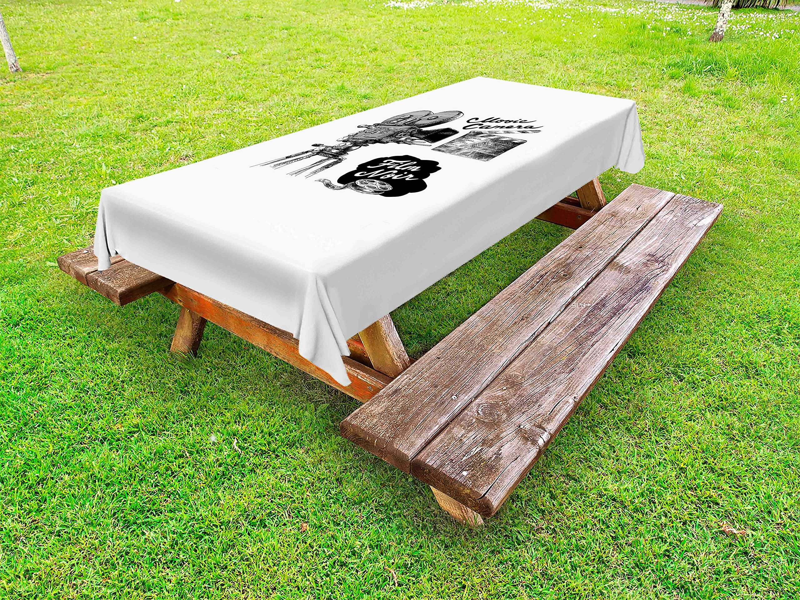 Ambesonne Movie Theater Outdoor Tablecloth, Antique Movie Camera Hand Drawn Style Art Collection Film Noir Genre Theme, Decorative Washable Picnic Table Cloth, 58 X 104 Inches, Black White