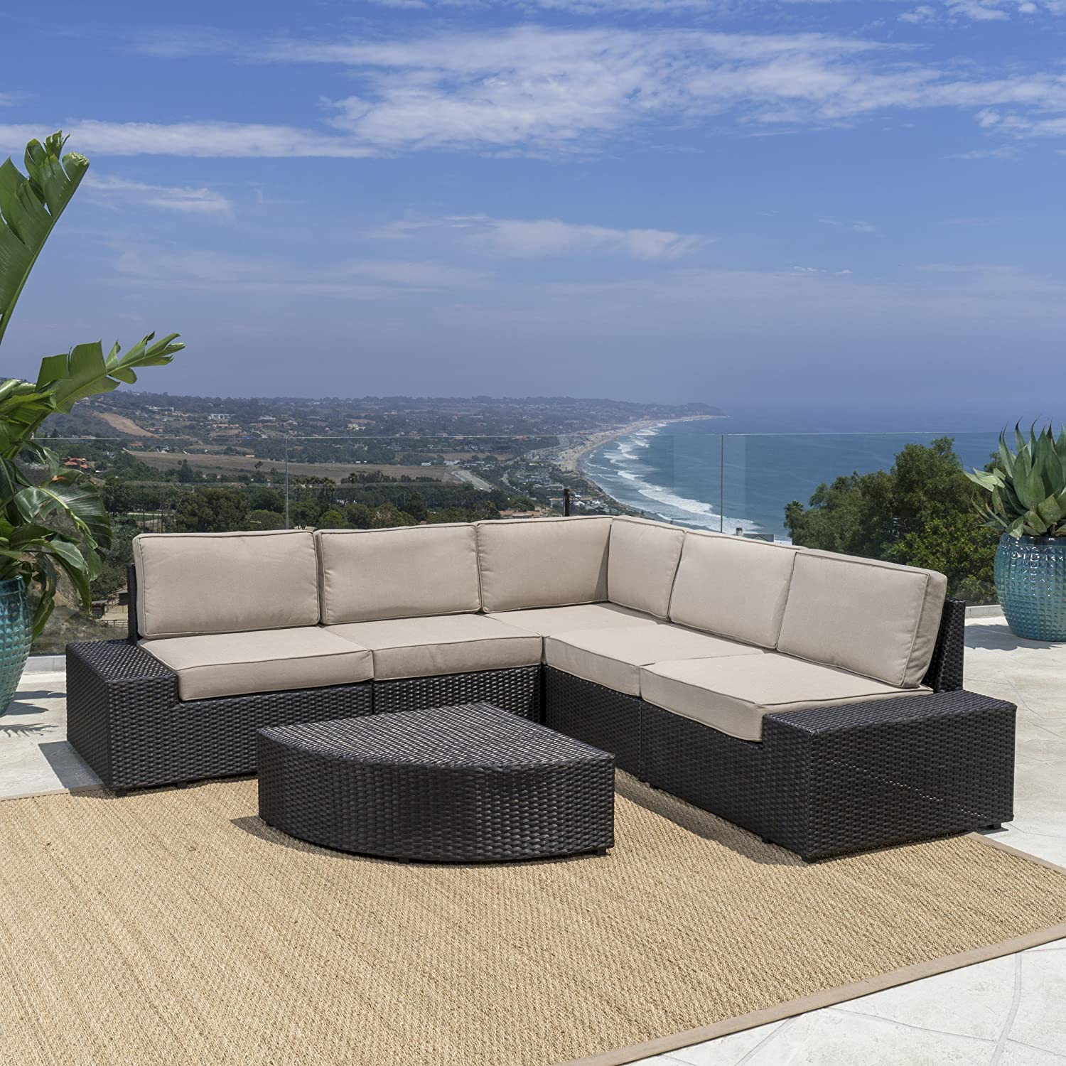 Amazon Reddington Outdoor Patio Furniture 6 Piece Sectional