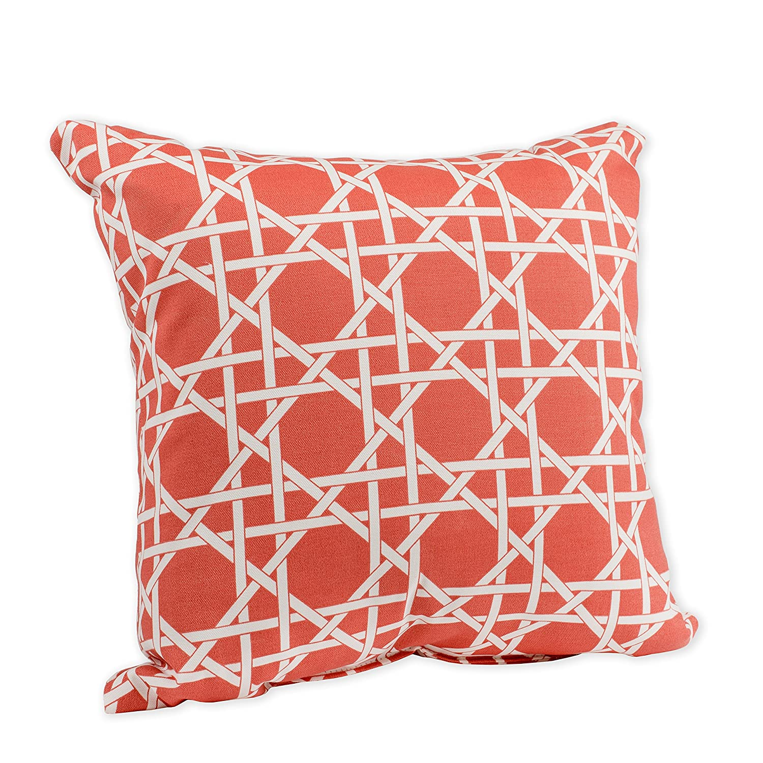 Kane Coral Pink and White Weave Print 16 x 16 Indoor Outdoor Throw Pillow