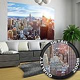 New York penthouse skyline photo wallpaper – Manhattan panorama view mural – XXL poster New York wall decoration 55 Inch x 39.4 Inch