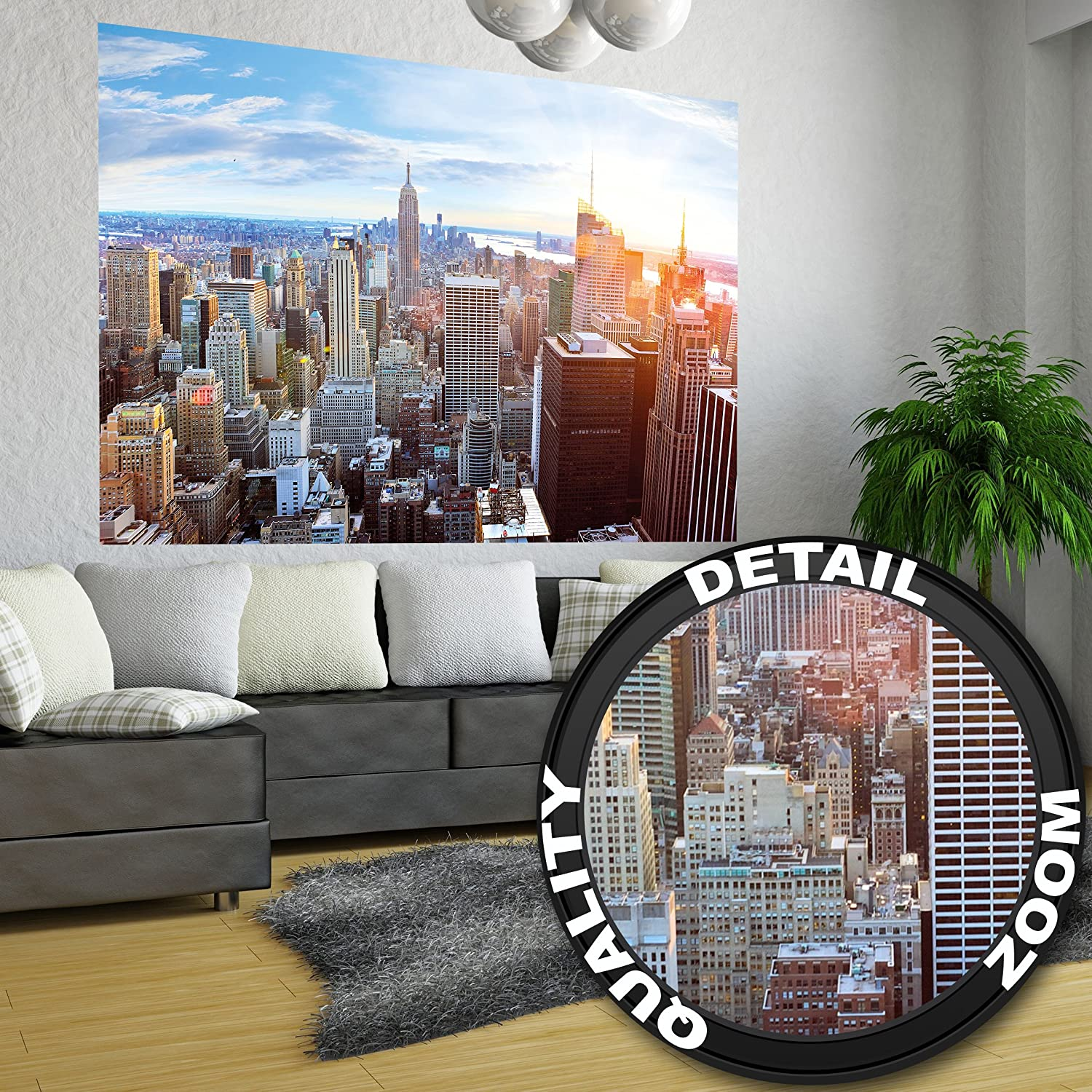 amazon com new york penthouse skyline photo wallpaper manhattan amazon com new york penthouse skyline photo wallpaper manhattan panorama view mural xxl poster new york wall decoration 55 inch x 39 4 inch home