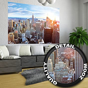 XXL Poster New York City Skyline   Wandbild Dekoration Penthouse  Sonnenuntergang Manhattan Amerika USA Deko Big