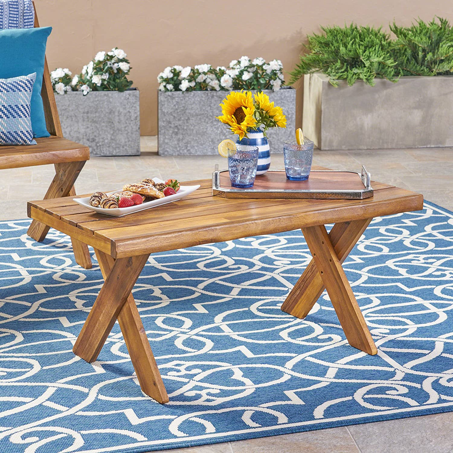 Christopher Knight Home 304412 Irene Outdoor Acacia Wood Coffee Table, Sandblast Teak Finish