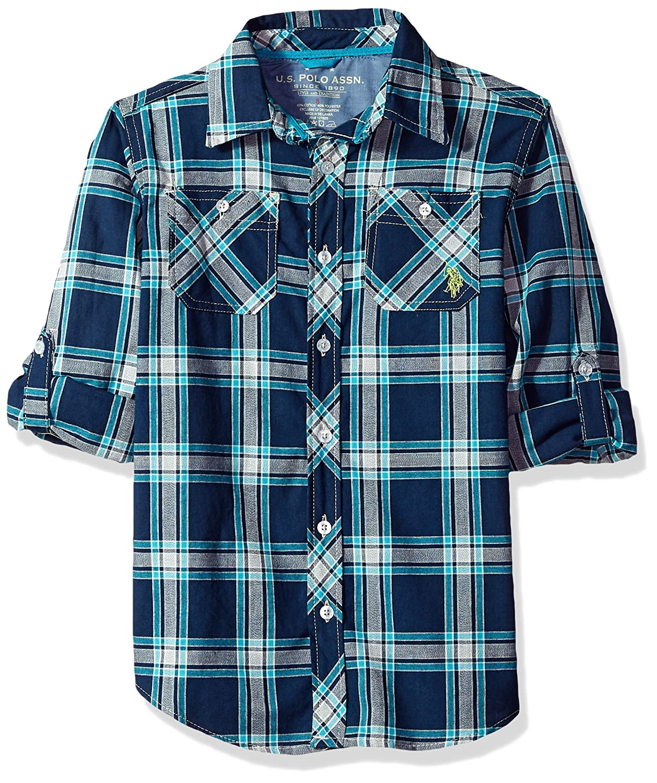 U.S. Polo Assn. Boys' Big Long Sleeve Plaid Shirt W76124ME