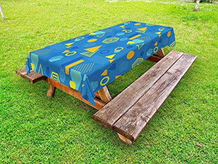 Remarkable Amazon Com Lunarable Yellow And Blue Outdoor Tablecloth Interior Design Ideas Gentotthenellocom