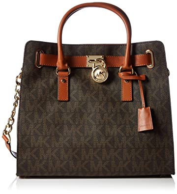 cbf7d6d7bdd5b Amazon.com  Michael Kors Womens Textured Signature Tote Handbag Brown Large   Michael Kors  Shoes