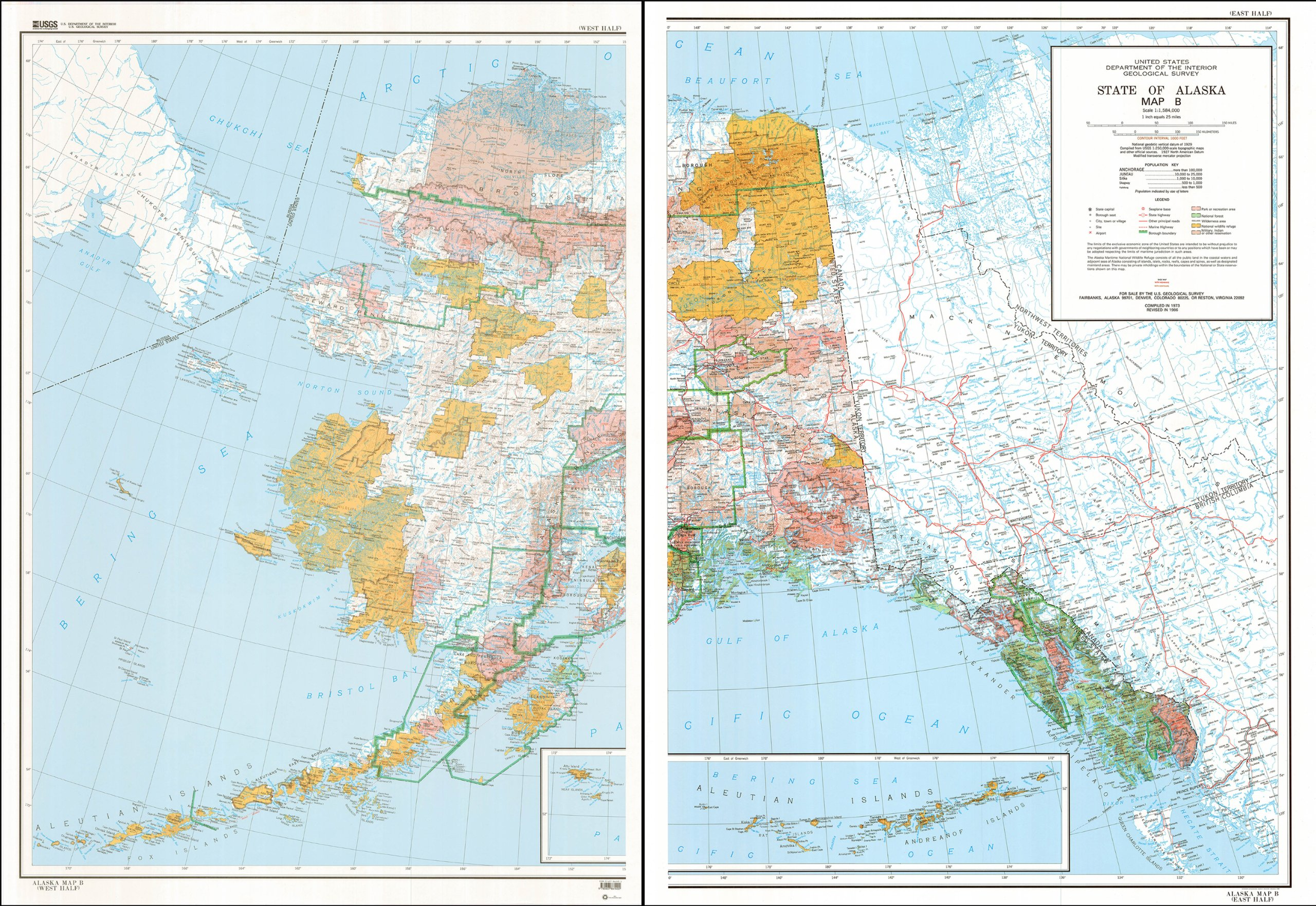 Political Map Of Alaska.State Of Alaska Map B Base Map With Highways And Contours