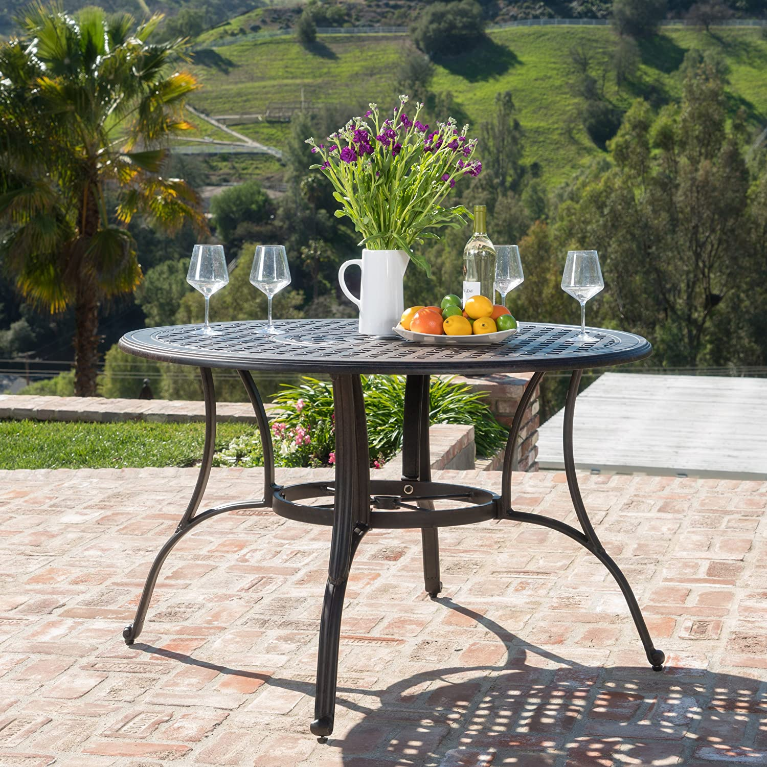 Christopher Knight Home 300276 Calandra | Cast Aluminum Outdoor Circular Dining Table | in Bronze