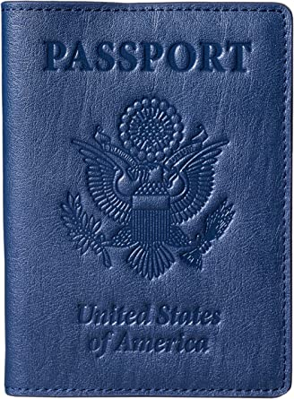 YouCY Passport Holder Cover Traveling Case Travel Luggage Passport Card Holder With Storage Pocket Document Bag For Women Men,Blue