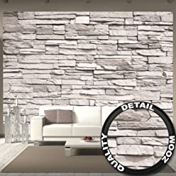 great-art Fototapete White Stonewall - 336 x 238 cm 8-Teiliges Wandbild Steintapete 3D Tapete Steinoptik Wandtapete weiße Steinwand