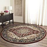 Safavieh Heritage Collection HG625A Handmade Traditional Oriental Heriz Medallion Red Wool Round Area Rug (8' Diameter)