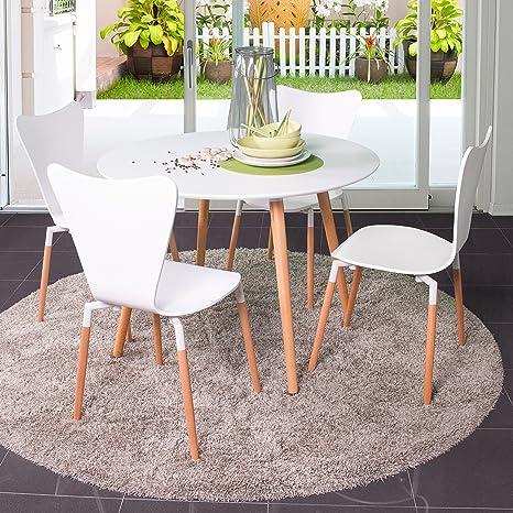 Homely - Conjunto de Mesa Redonda de Cocina Eclectic de 100 cm, con 4  sillas Tipo Jacobsen