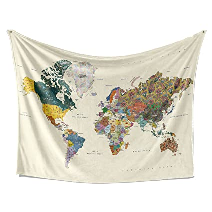 Amazon Com Livetty Tapestry Abstract Map Wall Hanging Collage Of
