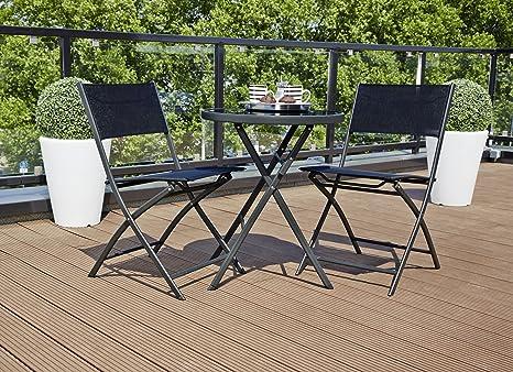 Tavolo Da Terrazzo Pieghevole : Ribelli set da balcone tavolo rotondo e 2 sedie pieghevoli terrazzo