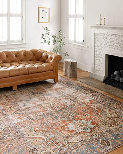 Loloi Loren Collection Vintage Printed Persian Area Rug 5'-0″ x 7'-6″ Terracotta/Sky
