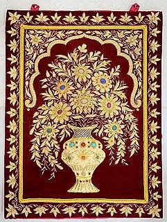18 x24  Indian Embroidered Zardozi Zardosi Wall Decorations Decoratives Hanging - Wall Hanged Jewel  sc 1 st  Amazon.com & Amazon.com: Decorative Royal Kashmiri Jewel Carpet Wall Decor Art ...