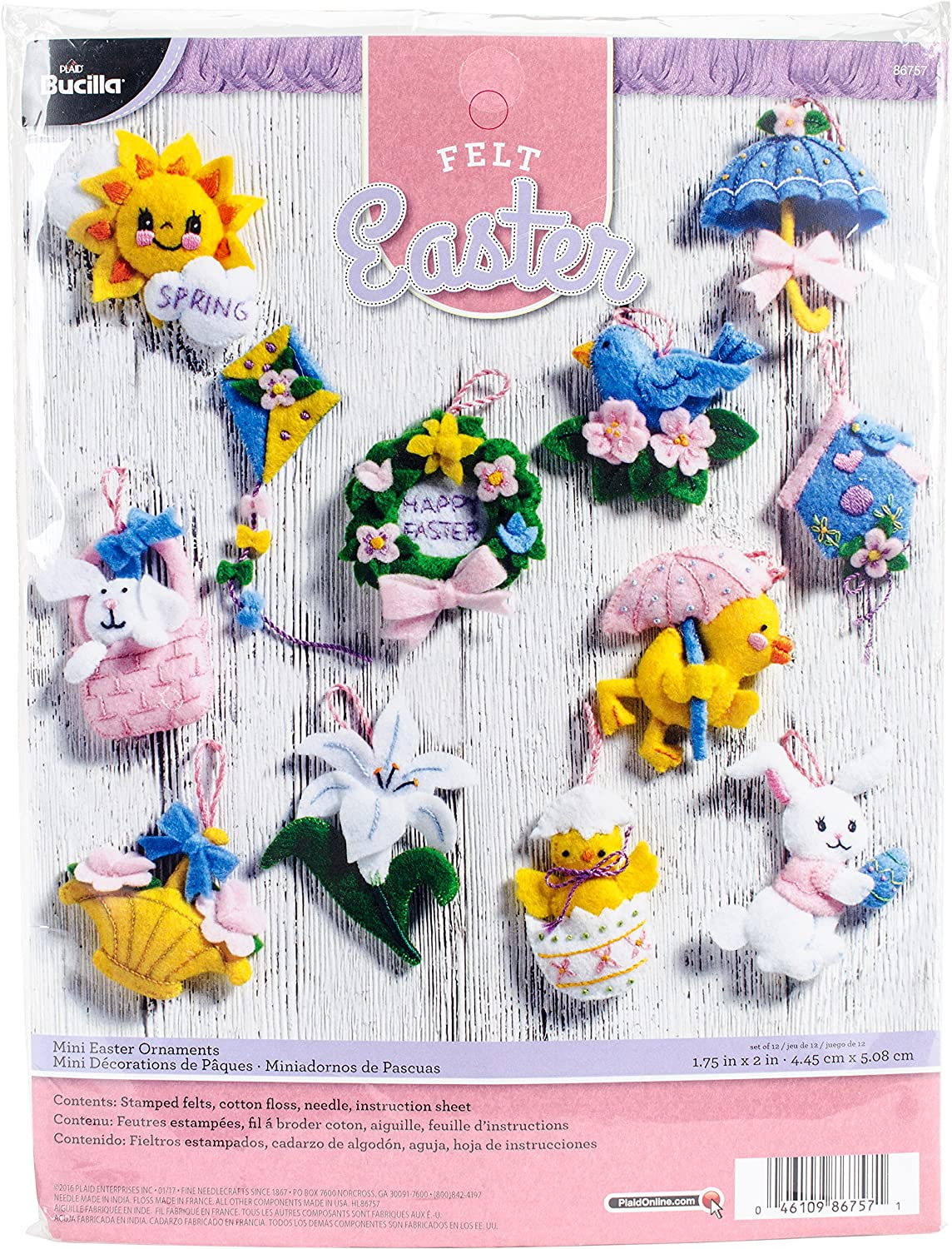 Bucilla Felt Applique Ornament Kit, 4 by 6-Inch, 86671 Trimming The Tree (Set of 6) Plaid Inc