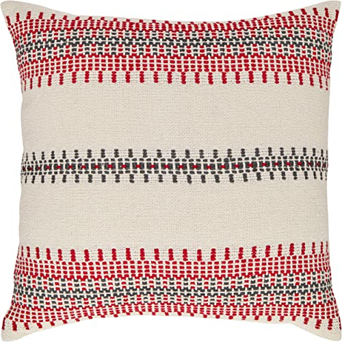 Amazon Brand Stone Beam Modern Woven Stripe Throw Pillow – 18 x 18 Inch, Red and Grey
