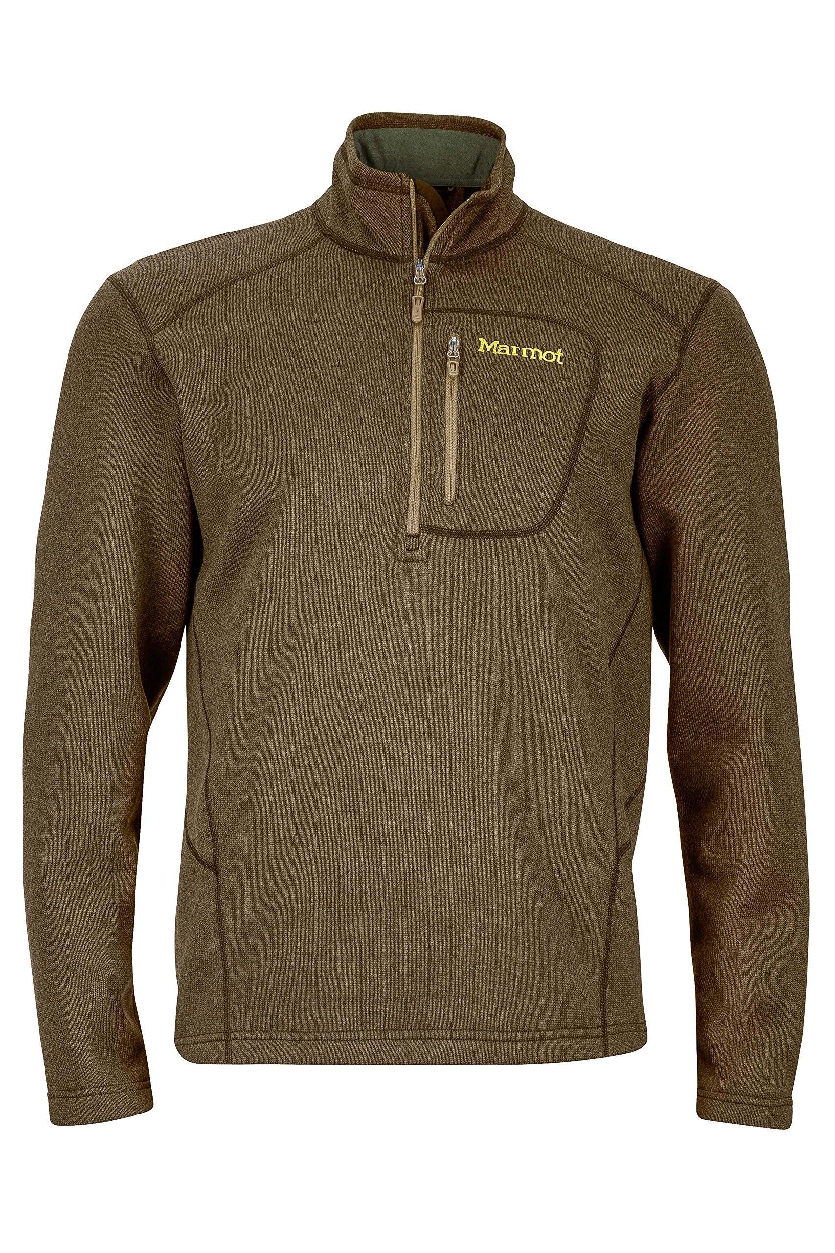 Marmot Drop Line 1/2 Zip Men's Pullover Jacket, Lightweight 100-Weight Sweater Fleece, Deep Moss by Marmot