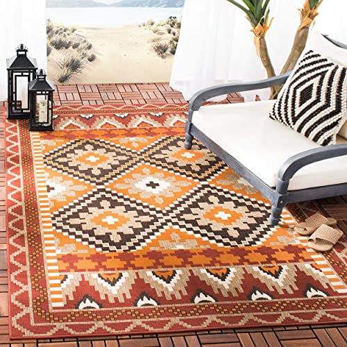 Safavieh Veranda Collection VER096-0334 Rust and Red 5 3 x 7 7 Area Rug, 5 3 x 7 7