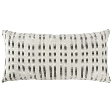 Stone & Beam French Laundry Stripe Pillow, 12  x 24 , Ivory, Black