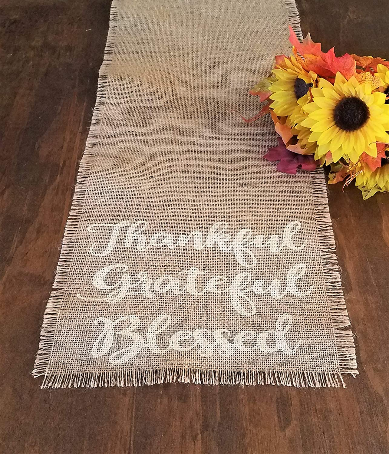 48 90 Rustic Burlap Fall Table Runner 108 160 inches 54 72 60 132 84 144 Thanksgiving Table Runner Available in 32 Thankful Grateful Blessed Fall Table Decorations Autumn Home Decor 120