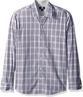 BYWX Men Long Sleeve Non-Iron Casual Plaid Button up Dress Shirts