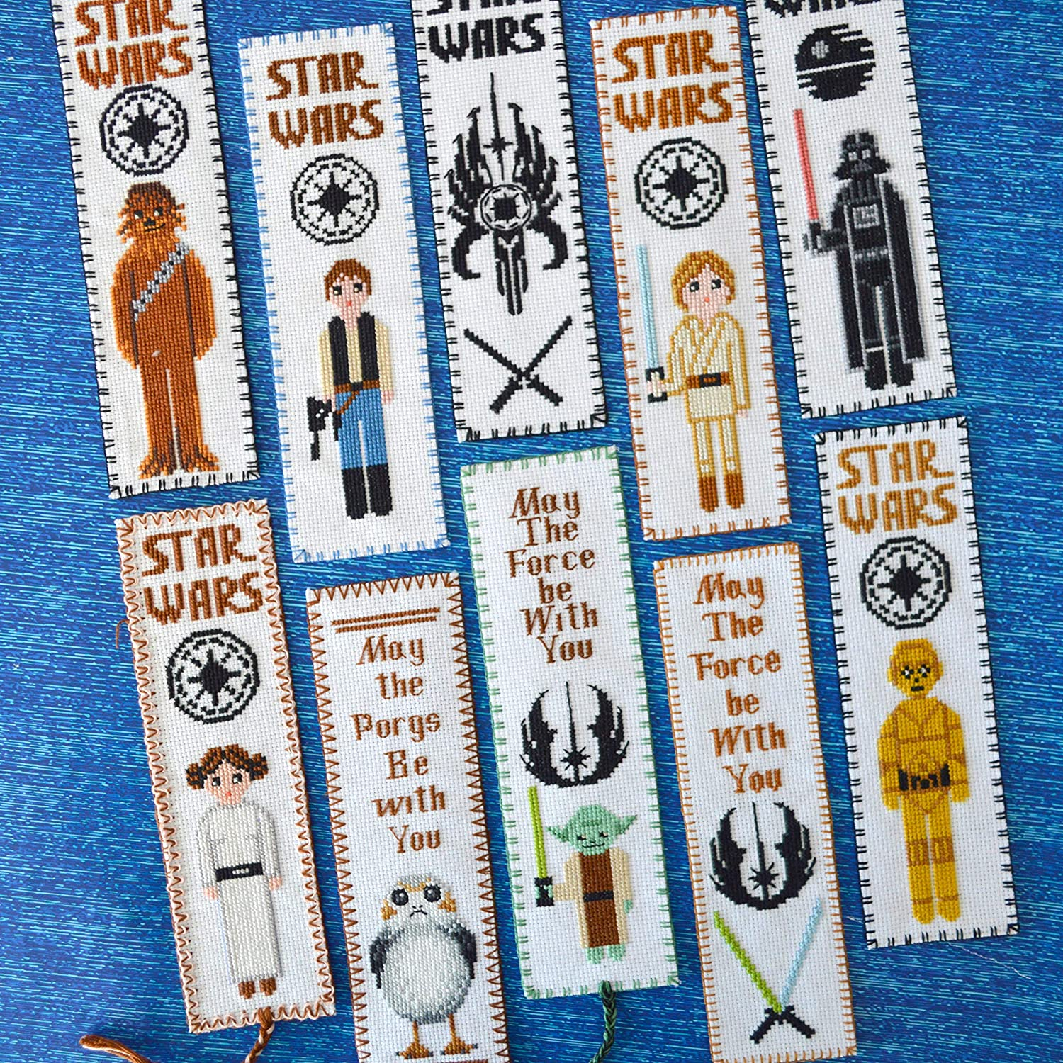 Star Wars Cross Stitch Kit PORG DIY Bookmark Embroidery Set with Pattern