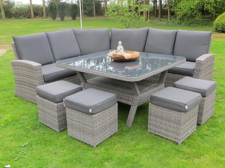 hohe dining poly rattan lounge johannesburg mit vier hockern und quadratischem xxl tisch von. Black Bedroom Furniture Sets. Home Design Ideas