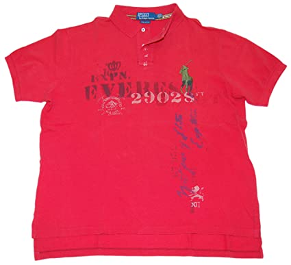 5fb6664ac Image Unavailable. Image not available for. Color  RALPH LAUREN Polo Mens  Custom Fit Big Pony Vintage Shirt Red Army Green XXL