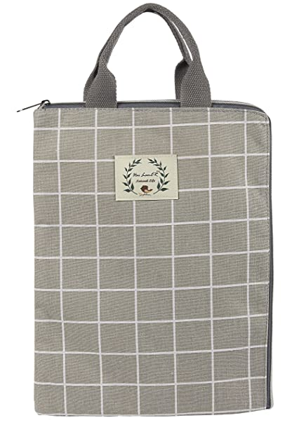 Multifunctional Canvas File Folder - Laptop Briefcase Portable Holder or A4  Document Paper Organizer Portfolio Bag b0a2e161ac71c