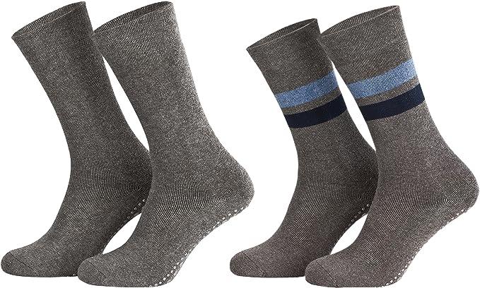 Piarini - 2 pares de calcetines unisex - Para estar por casa - Antideslizantes y sin elástico - ABS y forro de rizo: Amazon.es: Ropa y accesorios
