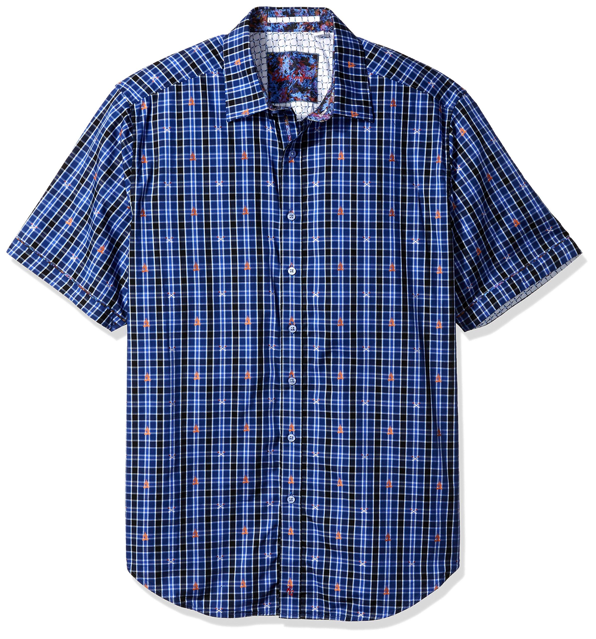 Robert Graham Men's Tall Size Campfire S/s Classic Fit Shirt, Blue 1XLT