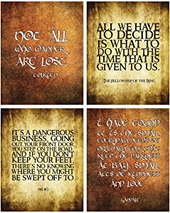 Lord of The Rings Themed Wall Art Print Pictures Room & Bathroom Home Decor (Quotes)
