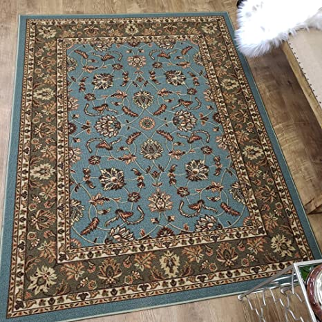 Area Rug 5x7 Teal Traditional Kitchen Rugs And Mats Rubber Backed Non Skid Living Room Bathroom Nursery Home Decor Under Door Entryway Floor Non