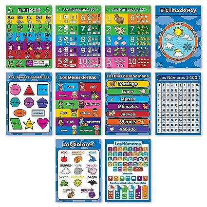 10 Espanol Carteles Educativos Para Ninos Abc Alfabeto Numeros