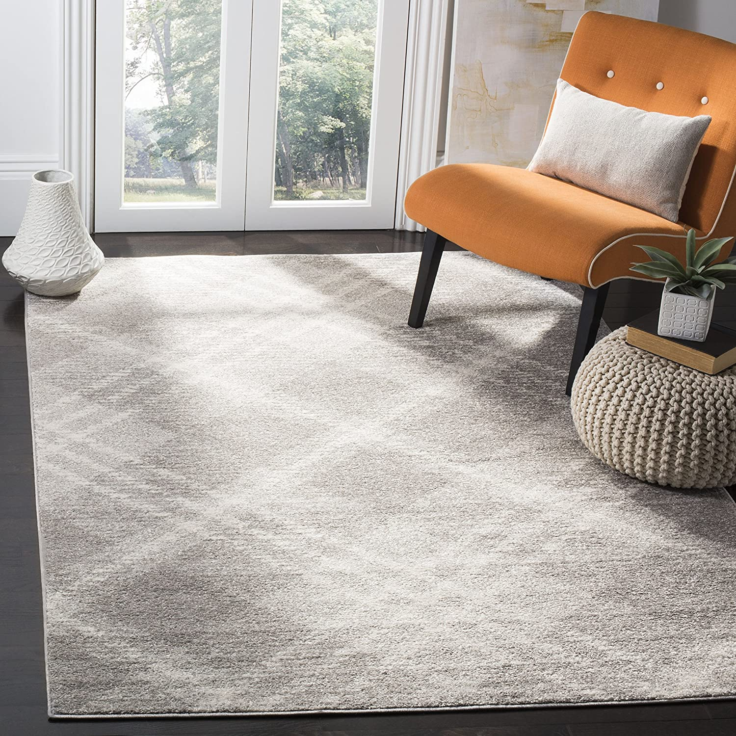 Safavieh Adirondack Collection ADR128B Ivory and Silver Vintage Area Rug (9' x 12')